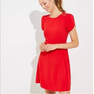 The Loft Red Fit Flare Short Sleeve Holiday Dress